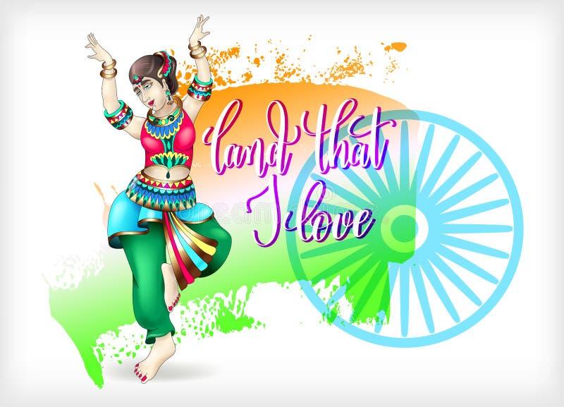 Aterre que eu amo o projeto da celebração da rotulação da mão ao indiano ind ilustração stock