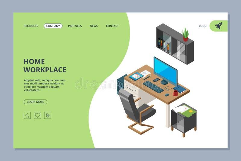 Aterrissagem autônomo O espaço de Coworking para artistas e profissionais dos programadores trabalha o molde do projeto do página ilustração royalty free