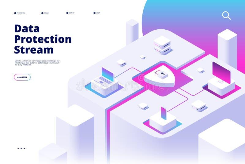 Aterrissagem da proteção de dados Transferência de dinheiro da verificação da senha da segurança do telefone para proteger  ilustração do vetor