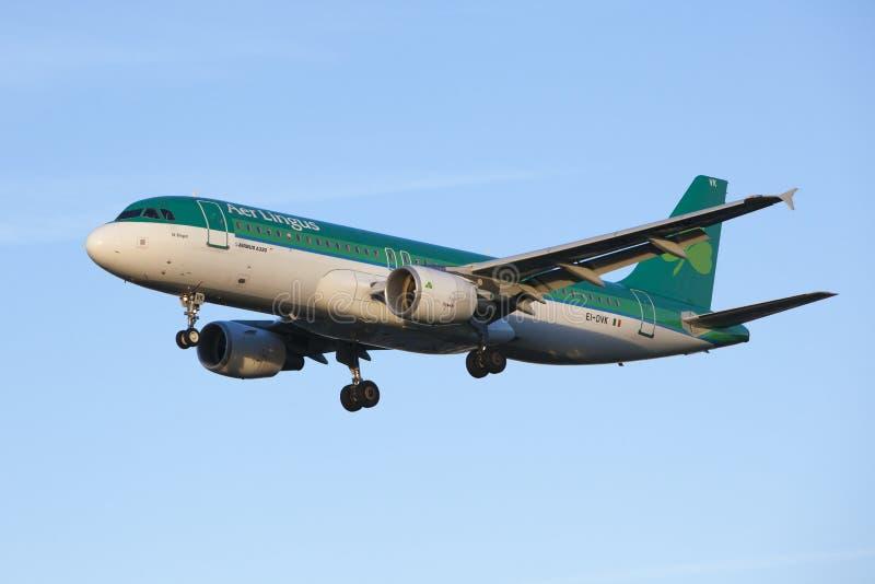 Aterrissagem de aviões Aer Lingus imagens de stock royalty free