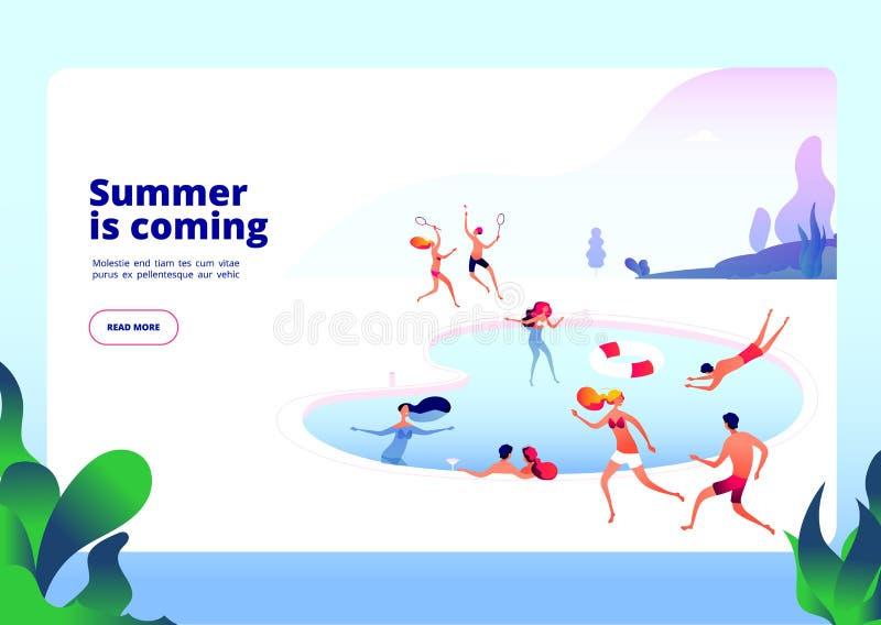 Aterrissagem de praia do verão Povos na piscina na água do hotel da restauração das férias de verão para relaxar no conceito do v ilustração do vetor