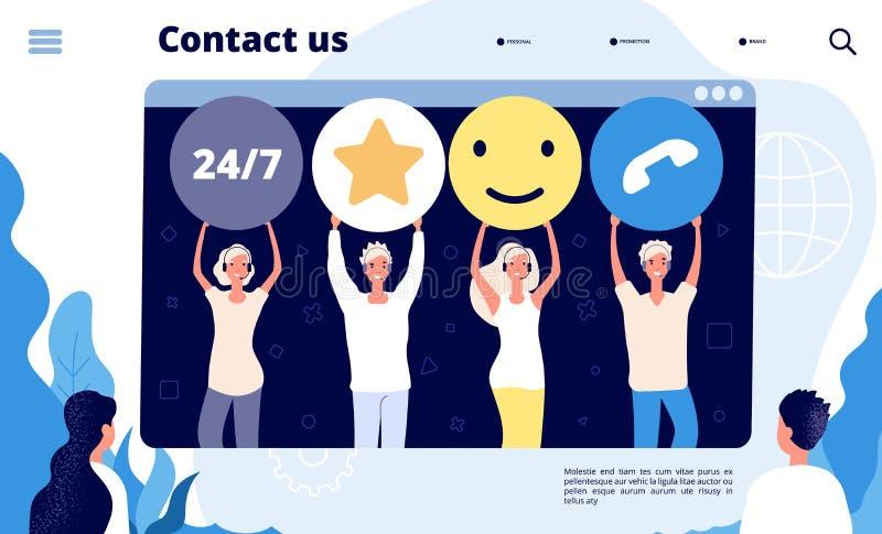 Aterrissagem do apoio ao cliente Os profissionais da retenção dos clientes do centro de atendimento ajudam o cliente, vendas digi ilustração stock