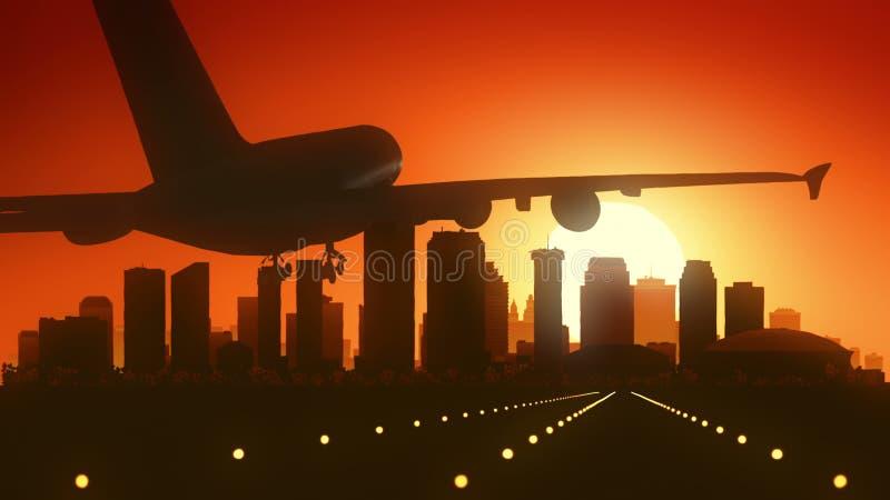 Aterrissagem do nascer do sol da skyline de Nova Orleães Louisiana EUA América fotografia de stock royalty free