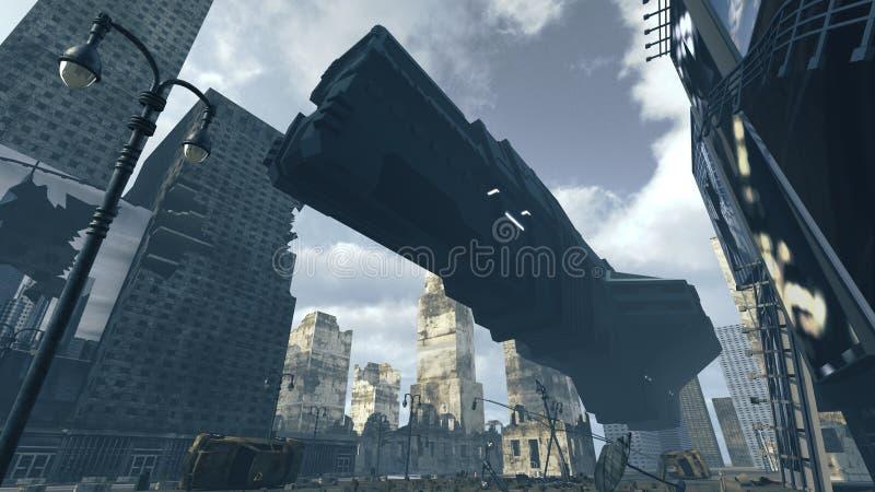 Aterrissagem futurista da nave espacial da carga na cidade apocalíptico rendição 3d ilustração royalty free