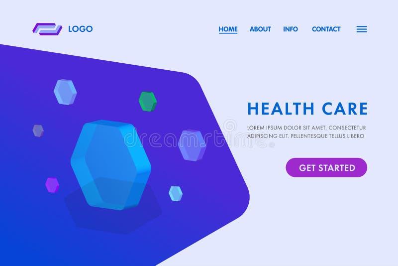 Aterrissagem médica do conceito da inovação do ícone do molde e da ciência do Web site da textura do hexágono do sumário dos cuid ilustração royalty free