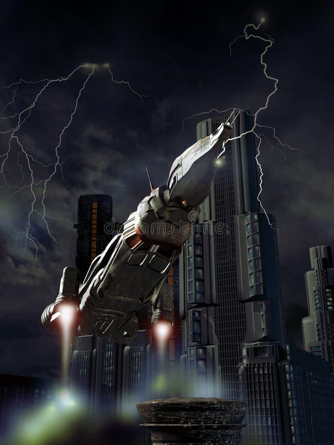 Aterrizaje bajo tormenta ilustración del vector
