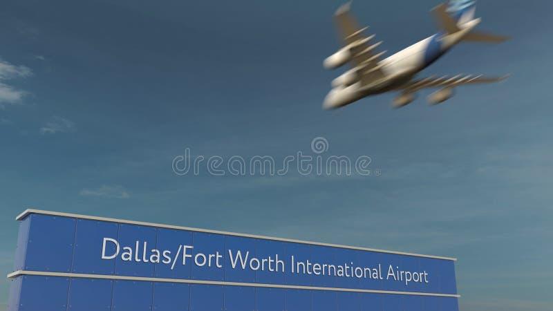 Aterrizaje de aeroplano comercial en la representación de Dallas Fort Worth International Airport 3D fotografía de archivo libre de regalías