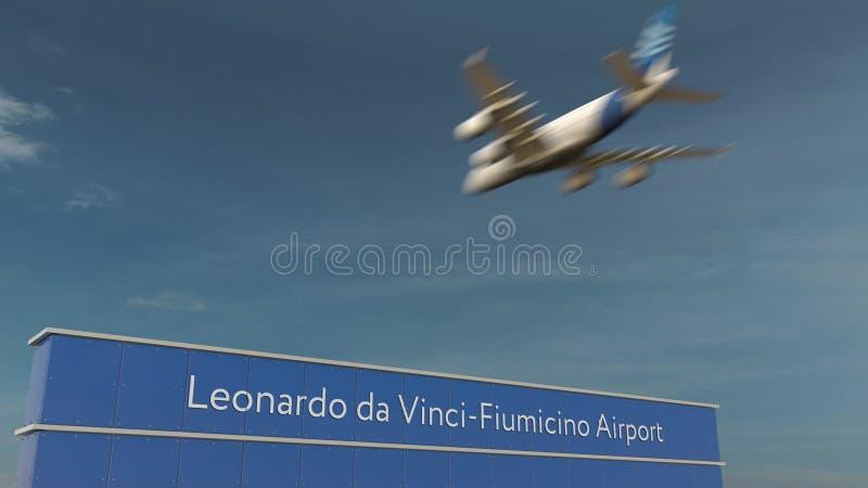 Aterrizaje de aeroplano comercial en la representación de Leonardo da Vinci-Fiumicino Airport 3D fotografía de archivo