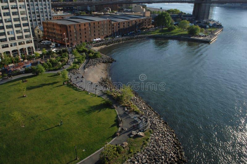 Aterrizaje de Fulton del parque y del imperio del puente de Brooklyn foto de archivo libre de regalías