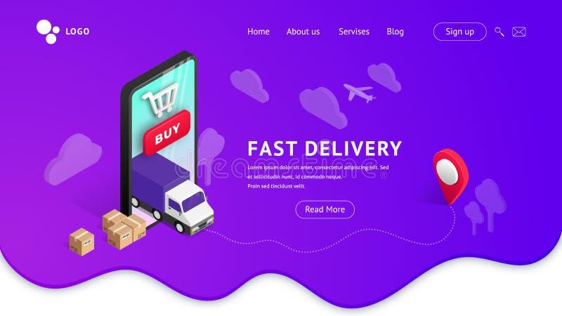 Aterrizaje de la entrega con la violeta del teléfono stock de ilustración