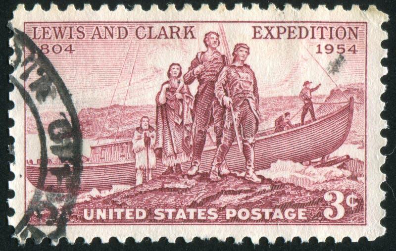 Aterrizaje de la expedición de Lewis y de Clark imagen de archivo libre de regalías
