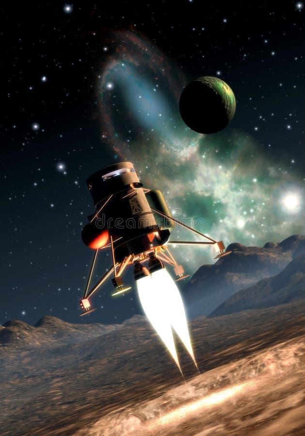 Aterrizaje de la nave espacial ilustración del vector