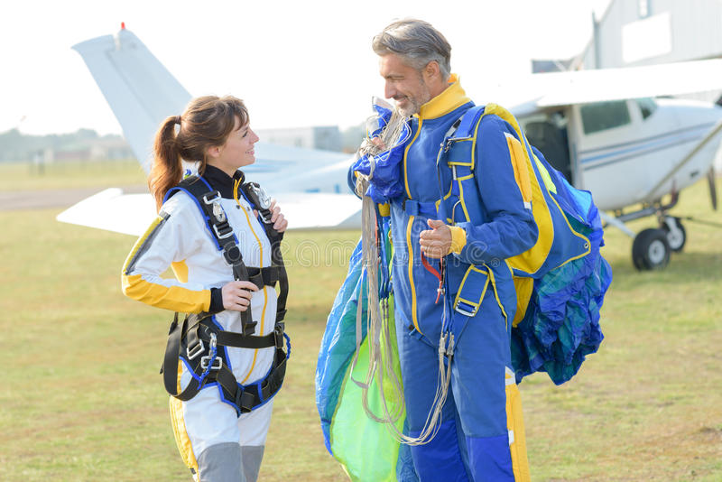 Aterrizaje de la seguridad para los skydivers imagen de archivo libre de regalías