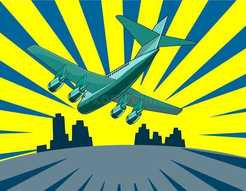 Aterrizaje del avión de reacción ilustración del vector
