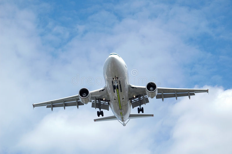Aterrizaje del jet imagen de archivo