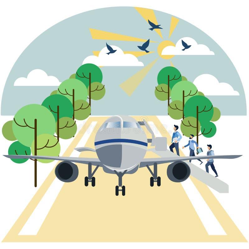 Aterrizaje en pasajeros de los aviones En trama plana de la historieta minimalista del estilo libre illustration