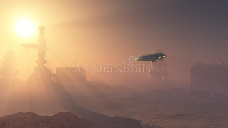 Aterrizaje polvoriento en el puesto avanzado de Marte ilustración del vector