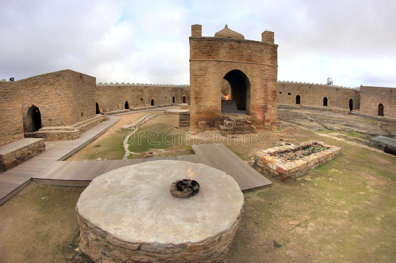 The Ateshgah in Azerbaijan. The Ateshgah is a castle-like religious temple in Surakhani, a suburb in Baku, Azerbaijan. Based on Persian and Indian inscriptions royalty free stock photo
