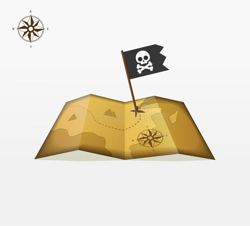 Atesore el vector del mapa con coordenadas y la insignia del compás de la bandera de pirata ilustración del vector