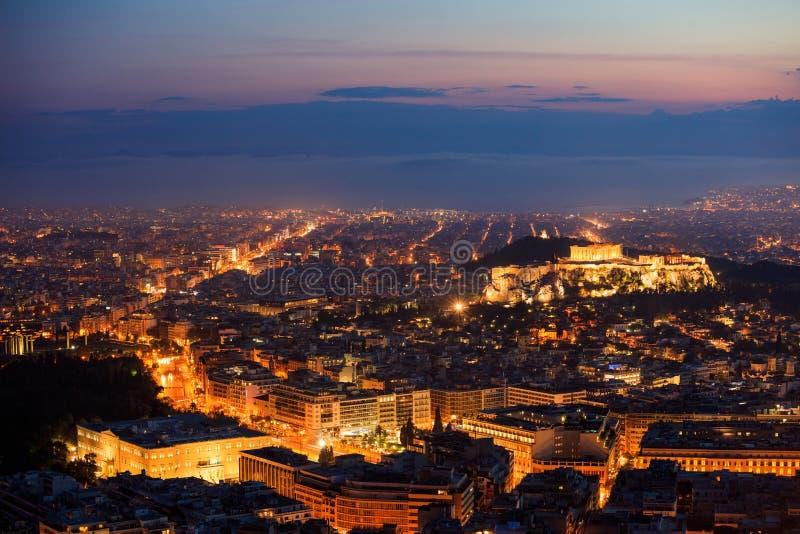 Athènes, Grèce la nuit photographie stock libre de droits