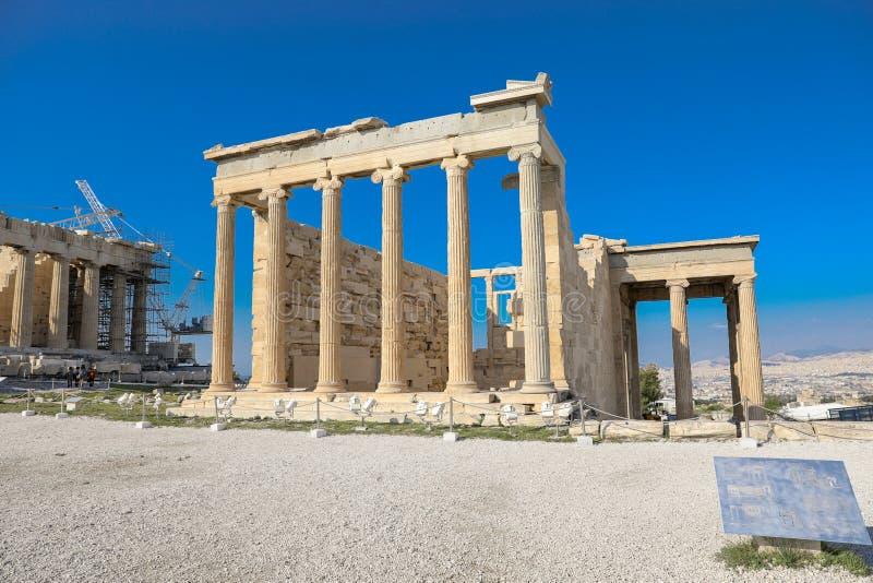 Athènes, Grèce - 14 mars 2017 : Le vieux temple d'Athéna sur l'Acropole d'Athènes, Grèce images libres de droits