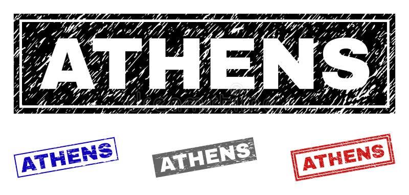 ATHÈNES grunge a donné à des joints une consistance rugueuse de timbre de rectangle illustration libre de droits