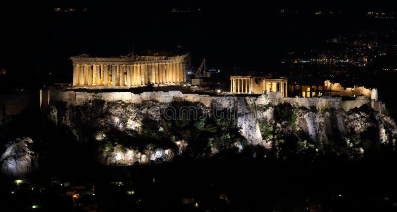 Athènes, parthenon la nuit, sur l'Acropole La Grèce Vacances d'été images libres de droits