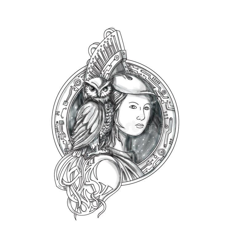 Athéna avec le hibou sur le tatouage de cercle de circuit électronique d'épaule illustration libre de droits