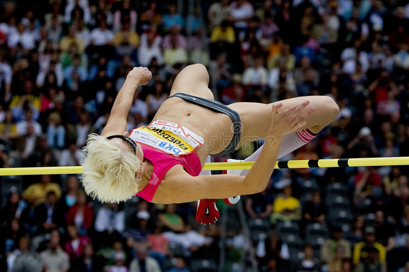 ATH: Berlin Golden League Athletics. June 14 2009; Berlin Germany. Ariane FRIEDRICH (GER) competing in the high jump at the DKB ISTAF 68 International royalty free stock photo