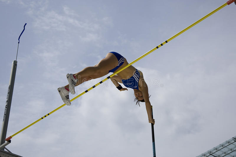 ATH: Berlin Golden League Athletics. June 14 2009; Berlin Germany. Kristina GADSCHIEW (GER) competing in the pole vault at the DKB ISTAF 68 International royalty free stock photo