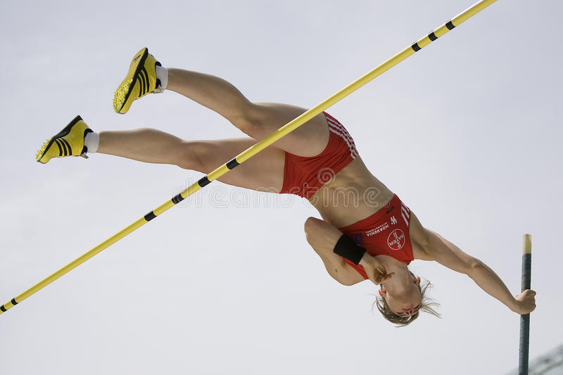 ATH: Berlin Golden League Athletics. June 14 2009; Berlin Germany. Silke SPIEGELBURG (GER) competing in the pole vault at the DKB ISTAF 68 International stock image