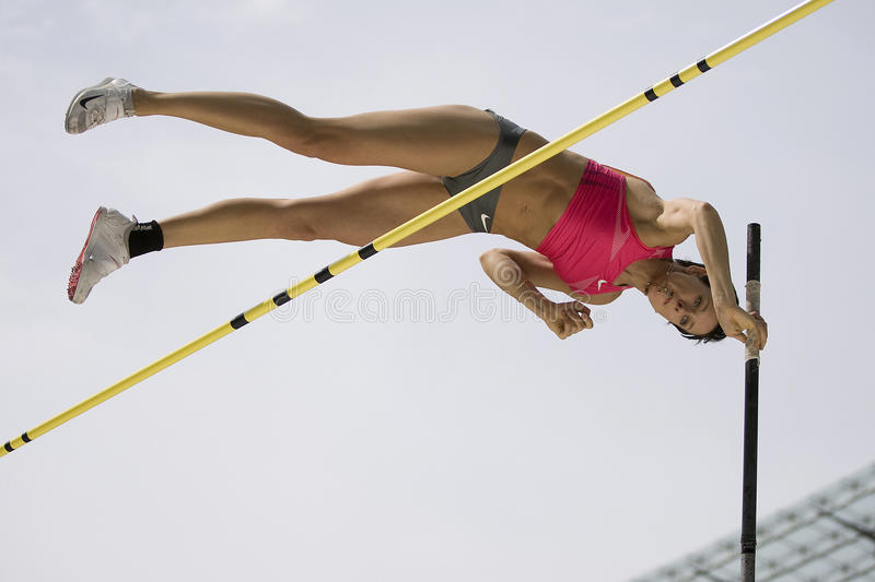 ATH: Berlin Golden League Athletics. June 14 2009; Berlin Germany. Yuliya GOLUBCHIKOVA (RUS) competing in the pole vault at the DKB ISTAF 68 International royalty free stock photo
