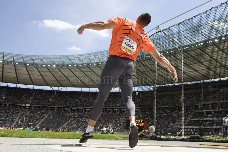 ATH: Berlin Golden League Athletics. June 14 2009; Berlin Germany. Zoltan KOVAGO (HUN) competing in the discus at the DKB ISTAF 68 International Stadionfest stock photography