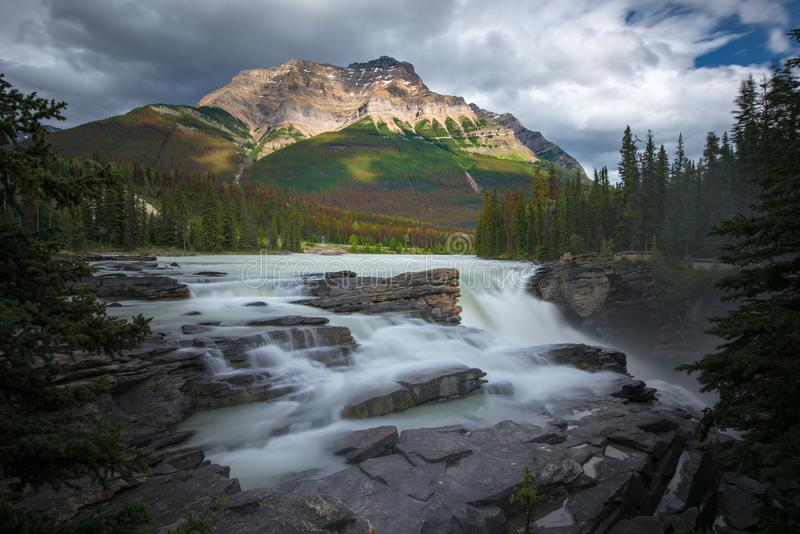 Athabasca-Fall mit bewölktem Tag im Frühjahr, Alberta, Kanada stockbilder