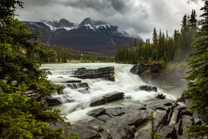 Athabasca Falls at Jasper in Canada stock photo