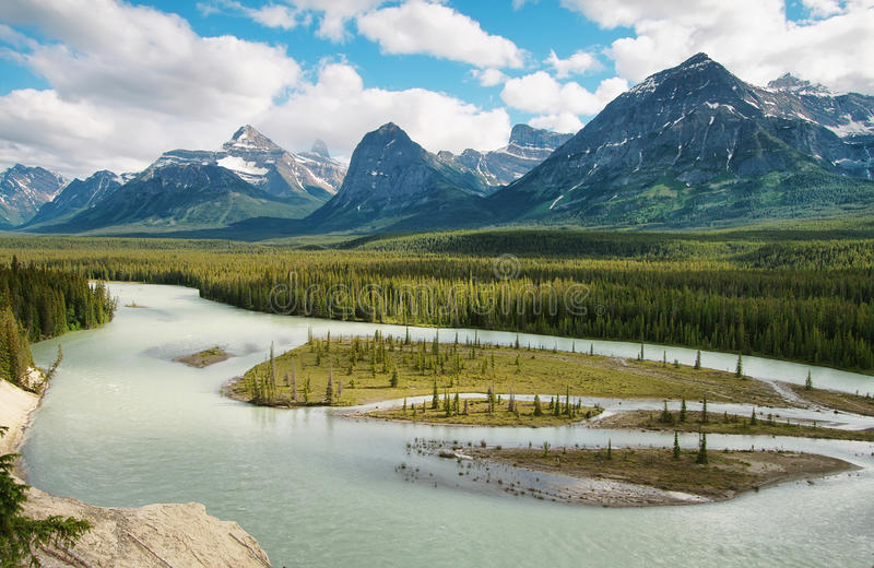 Athabasca-Fluss stockfotos