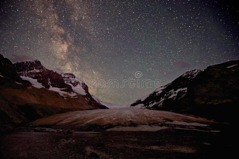 Athabasca Glacier Milky Way royalty free stock photography
