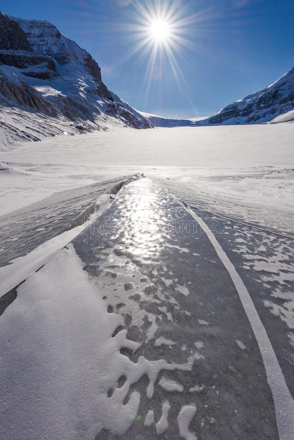 Athabasca glacier during the winter stock images
