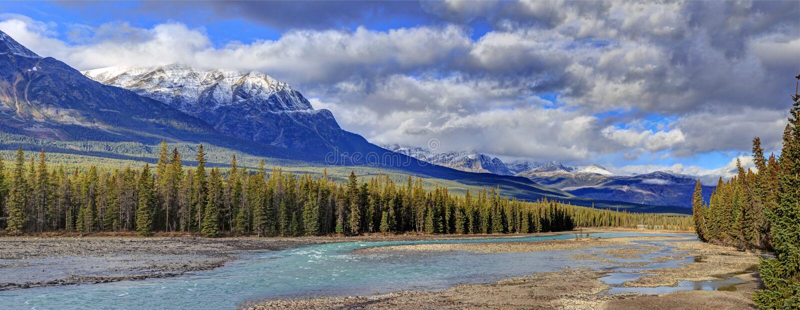 Athabasca River, Jasper National Park, Alberta, Canada stock images