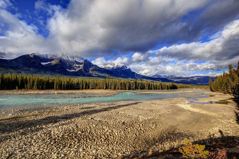 Athabasca River with low water level. Jasper National Park, Alberta, Canada stock photography