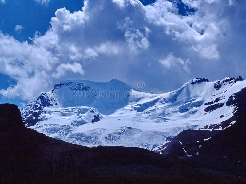 Athabascagletsjer, Colombia Icefield, Juli 1980 royalty-vrije stock afbeelding