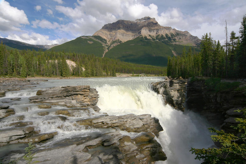 athabascaKanada falls royaltyfri fotografi