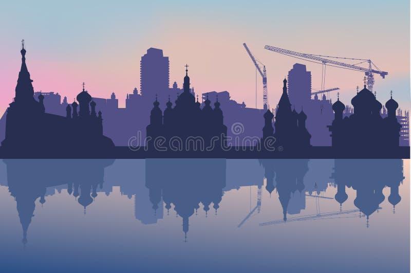 Athedrals in stadslandschap stock illustratie