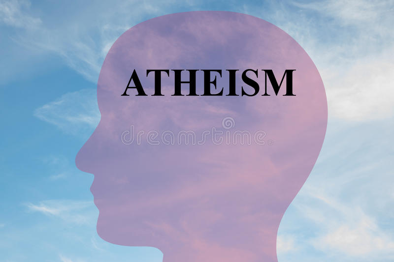 Atheism concept. Render illustration of Atheism title on head silhouette, with cloudy sky as a background stock images
