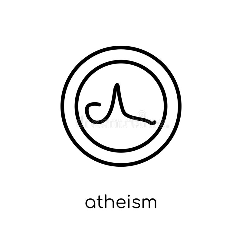 Atheism icon. Trendy modern flat linear vector atheism icon on w. Hite background from thin line Religion collection, editable outline stroke vector illustration stock illustration