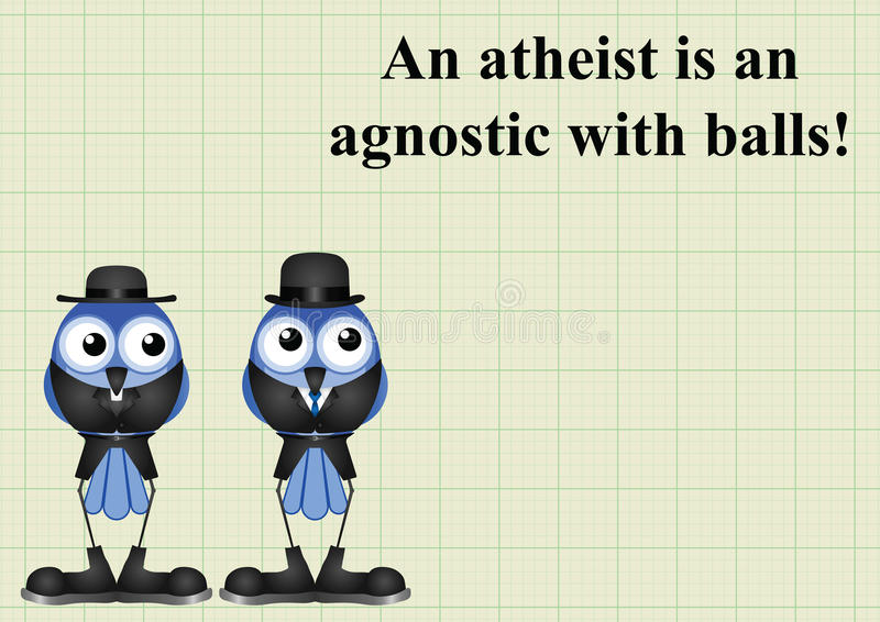 Atheism saying. With bird atheist and vicar on graph paper background with copy space for own text royalty free illustration