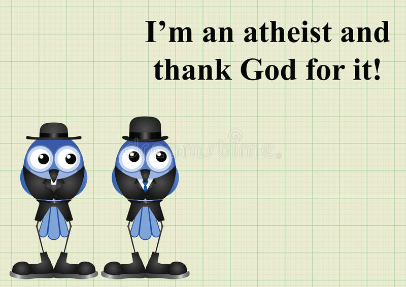 Atheism saying. With bird atheist and vicar on graph paper background with copy space for own text stock illustration