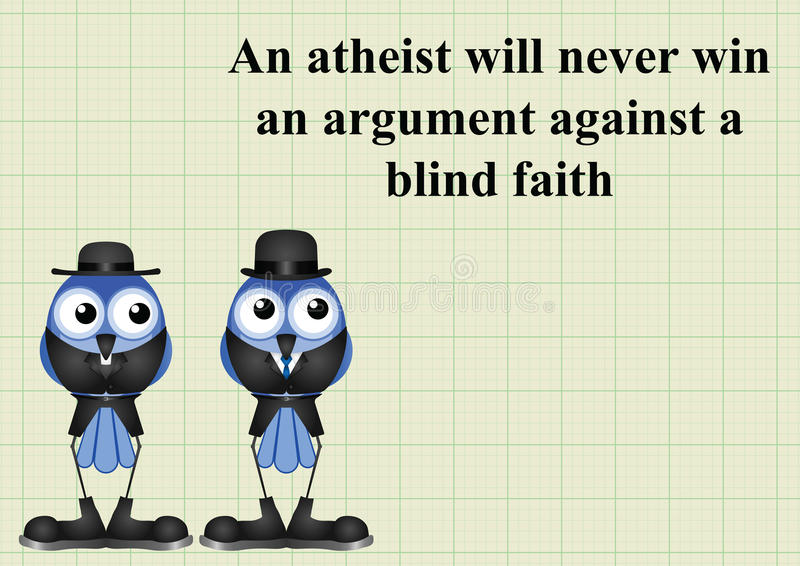 Atheism saying. With bird atheist and vicar on graph paper background with copy space for own text vector illustration