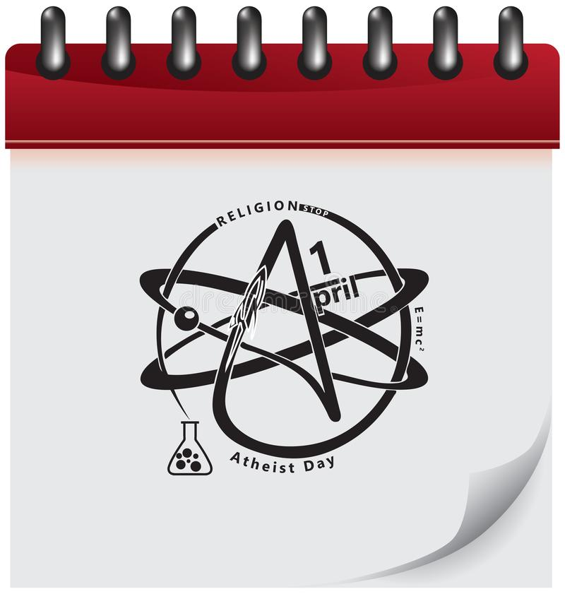 Atheist calendar day. Calendar page with symbols for atheist day. Vector illustration stock illustration