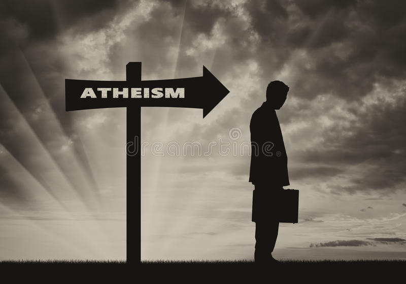 Atheist men stands near road sign Atheism. Atheist goes in direction that shows sign of Atheism. Concept atheism stock illustration
